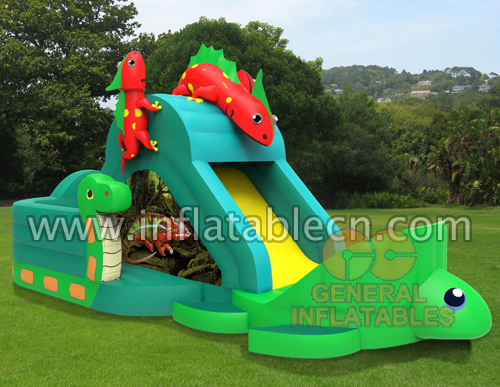 Inflatable jungle animal slide