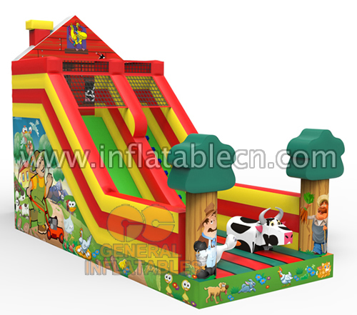 Inflatable farm slide