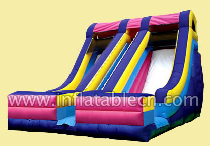 Inflatable two lanes slide