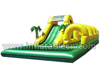 Inflatable Tropical Slip N Dip Slide & Inflatable Water Slide