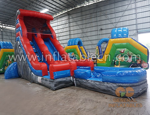Water slide with detachable pool