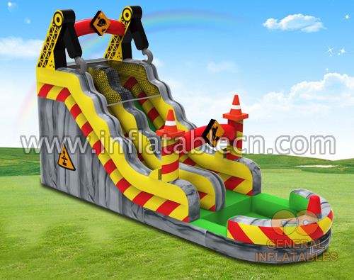 Construction site water slide
