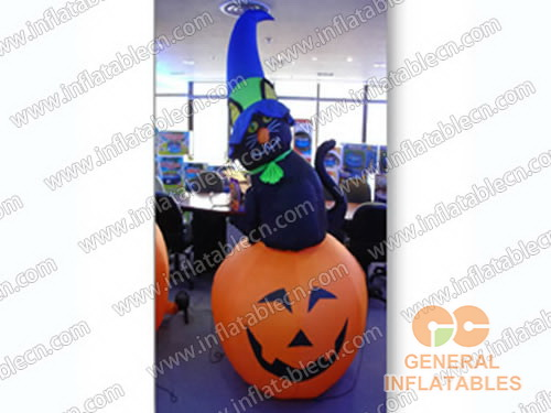 Inflatable Smile Pumpkin and Black Cat