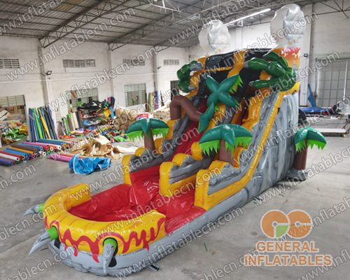 Inflatable volcano water slide
